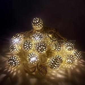 EMOS 20 LED, 3 m, 1 W, Vánoční osvětlení - řetěz metal ball, IP 20, WW