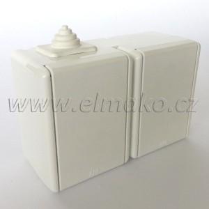 5518-2029 B Zásuvka dvojnásobná nástěnná Praktik ABB, bílá