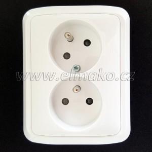 Dvojnásobná zásuvka 5513A-C02357 B ABB Tango bílá, pootočená, bezšroubová